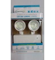 Iluminação Emergência Led 200 Lumens Com 2 Faróis Segurimax